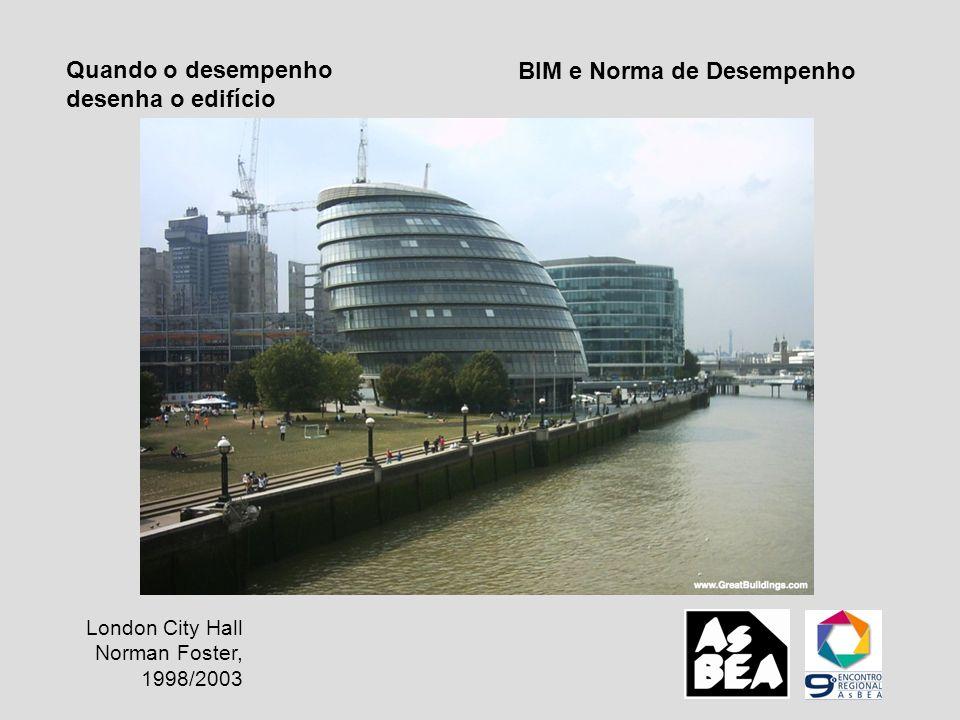 BIM e Norma de Desempenho Quando o desempenho desenha o edifício London City Hall Norman Foster, 1998/2003