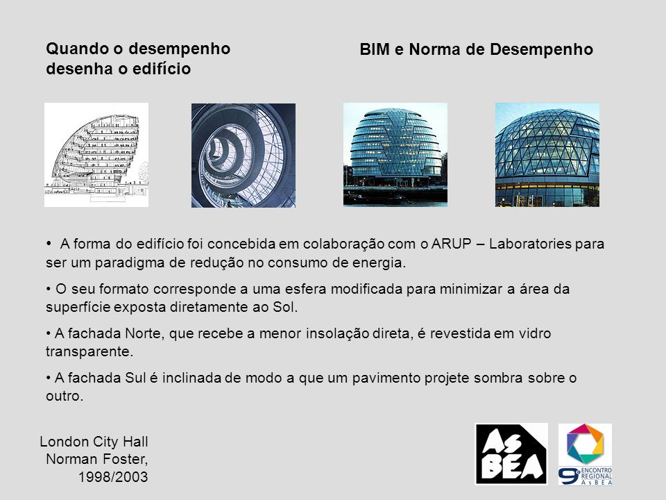 BIM e Norma de Desempenho Quando o desempenho desenha o edifício A forma do edifício foi concebida em colaboração com o ARUP – Laboratories para ser u