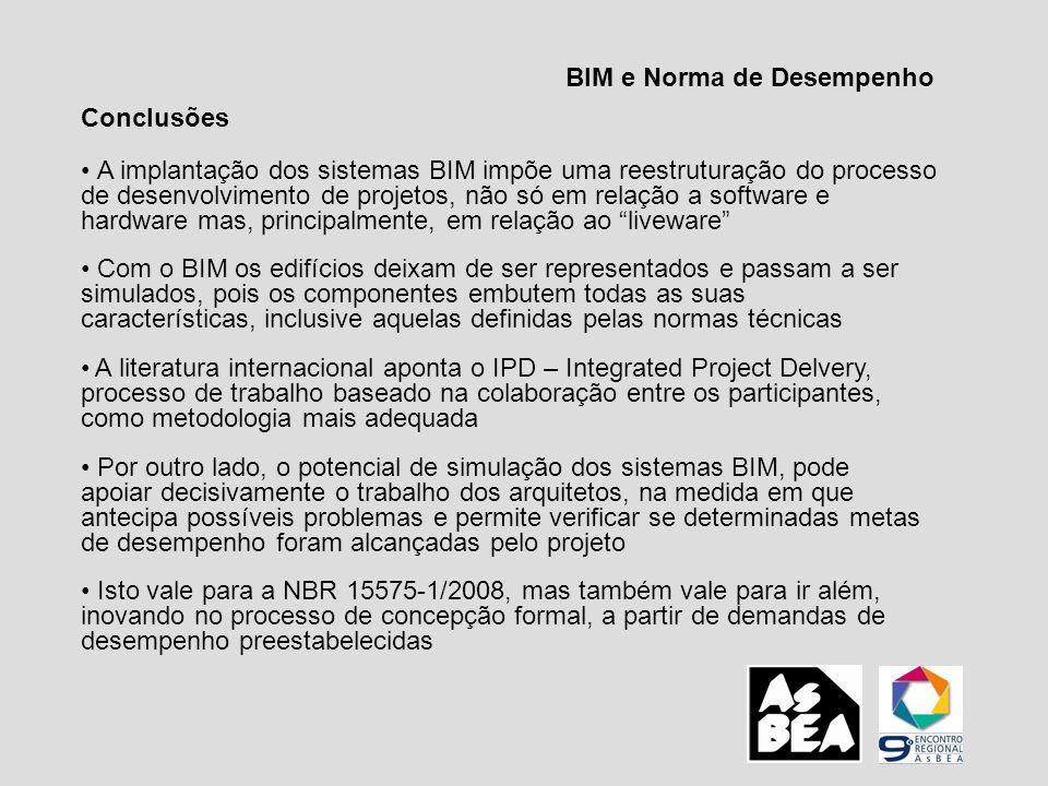 BIM e Norma de Desempenho Conclusões A implantação dos sistemas BIM impõe uma reestruturação do processo de desenvolvimento de projetos, não só em rel