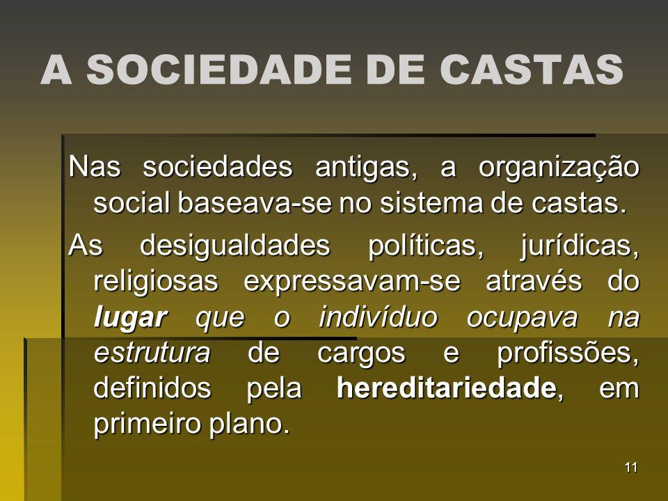 11 A SOCIEDADE DE CASTAS Nas sociedades antigas, a organização social baseava-se no sistema de castas. As desigualdades políticas, jurídicas, religios