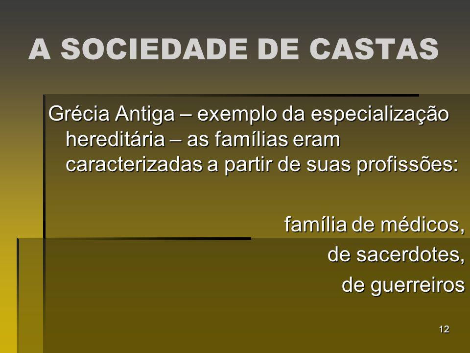 12 A SOCIEDADE DE CASTAS Grécia Antiga – exemplo da especialização hereditária – as famílias eram caracterizadas a partir de suas profissões: família
