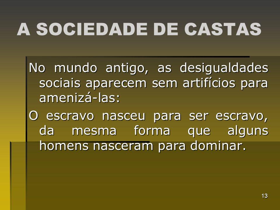 13 A SOCIEDADE DE CASTAS No mundo antigo, as desigualdades sociais aparecem sem artifícios para amenizá-las: O escravo nasceu para ser escravo, da mes