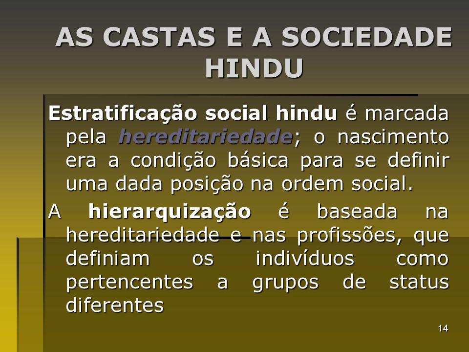 14 AS CASTAS E A SOCIEDADE HINDU Estratificação social hindu é marcada pela hereditariedade; o nascimento era a condição básica para se definir uma da