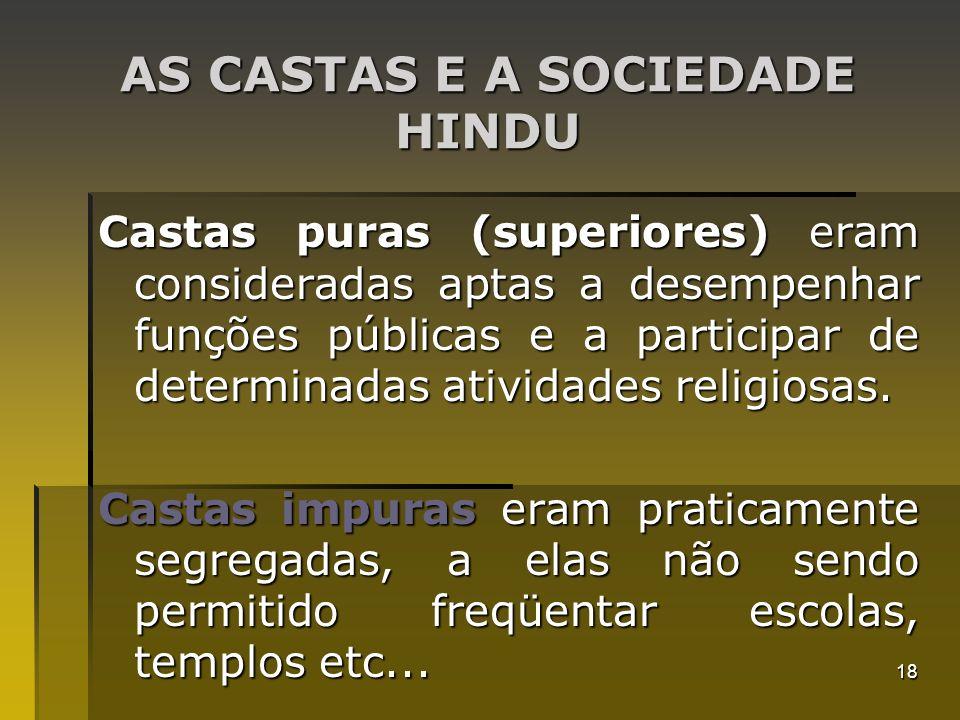 18 AS CASTAS E A SOCIEDADE HINDU Castas puras (superiores) eram consideradas aptas a desempenhar funções públicas e a participar de determinadas ativi