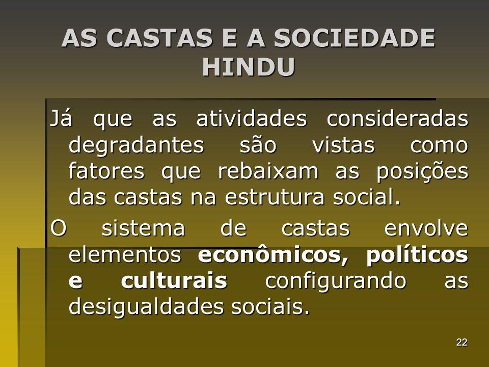 22 AS CASTAS E A SOCIEDADE HINDU Já que as atividades consideradas degradantes são vistas como fatores que rebaixam as posições das castas na estrutur