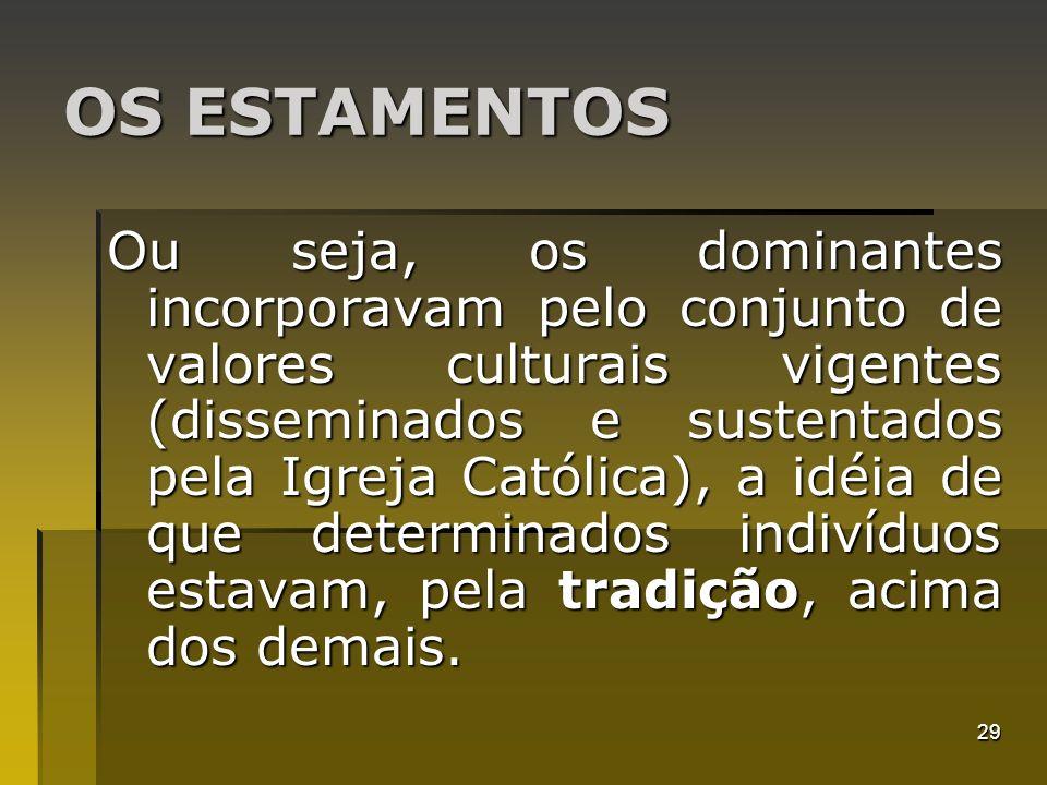 29 OS ESTAMENTOS Ou seja, os dominantes incorporavam pelo conjunto de valores culturais vigentes (disseminados e sustentados pela Igreja Católica), a