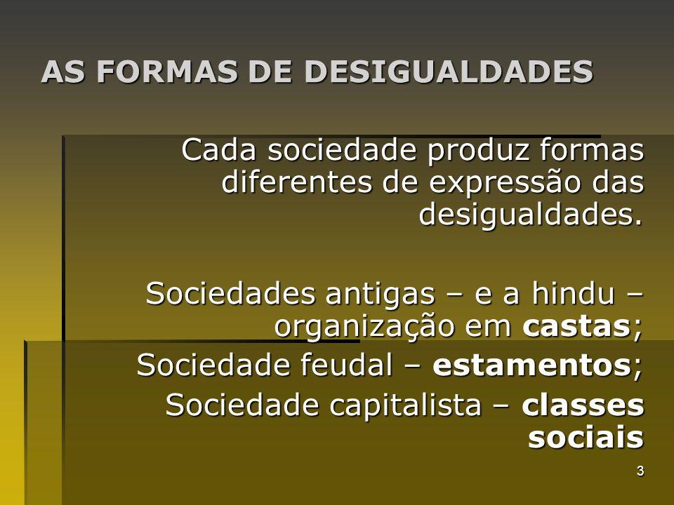 4 AS CASTAS Weber afirma que o sistema de castas é uma forma de organização social.