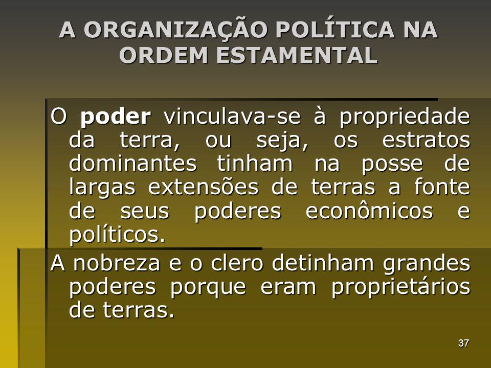 37 A ORGANIZAÇÃO POLÍTICA NA ORDEM ESTAMENTAL O poder vinculava-se à propriedade da terra, ou seja, os estratos dominantes tinham na posse de largas e