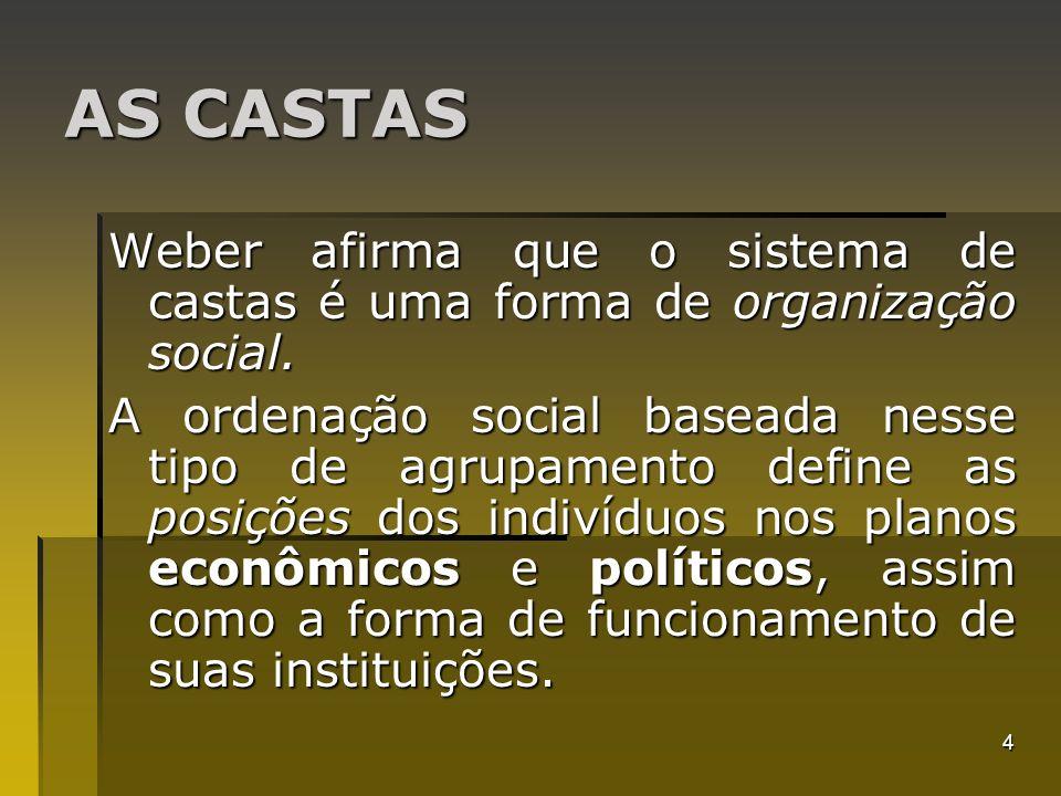 4 AS CASTAS Weber afirma que o sistema de castas é uma forma de organização social. A ordenação social baseada nesse tipo de agrupamento define as pos