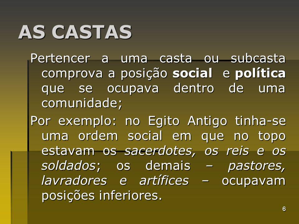 6 AS CASTAS Pertencer a uma casta ou subcasta comprova a posição social e política que se ocupava dentro de uma comunidade; Por exemplo: no Egito Anti