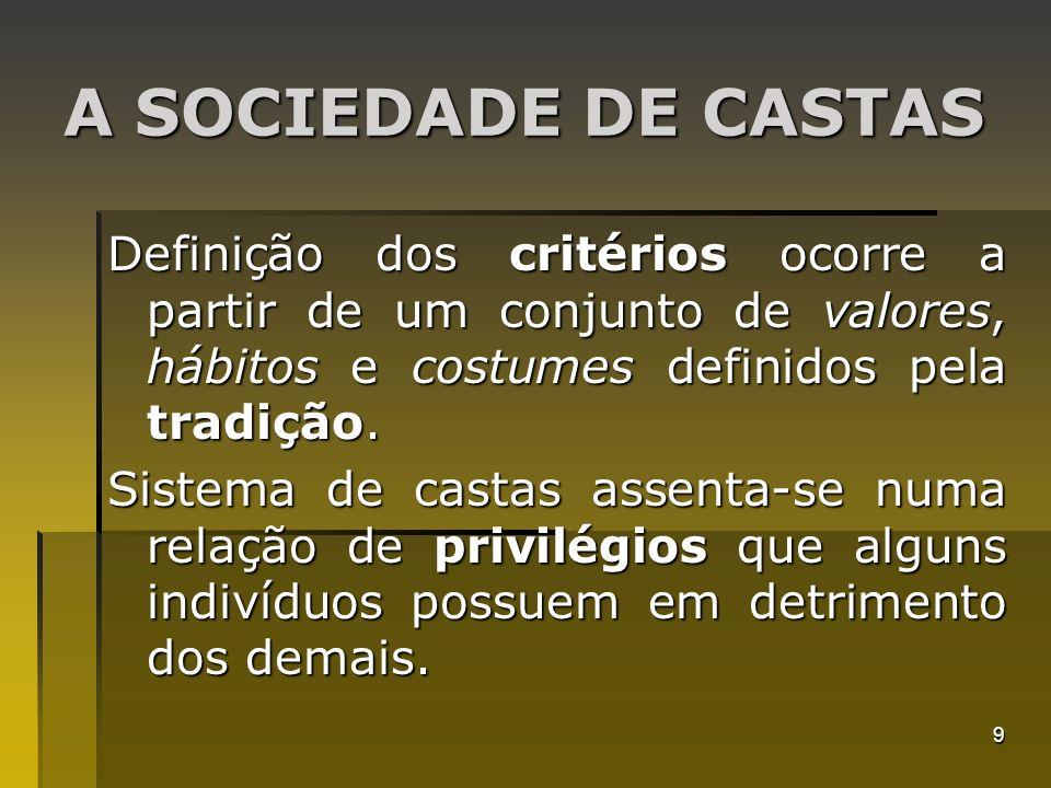 9 A SOCIEDADE DE CASTAS Definição dos critérios ocorre a partir de um conjunto de valores, hábitos e costumes definidos pela tradição. Sistema de cast