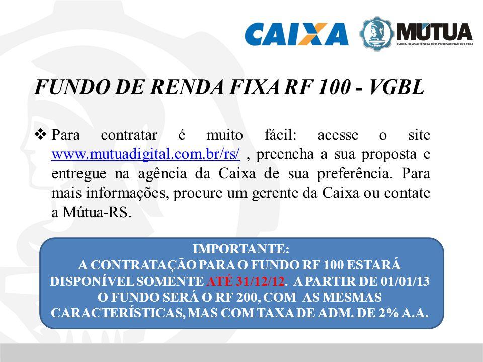 FUNDO DE RENDA FIXA RF 100 - VGBL Para contratar é muito fácil: acesse o site www.mutuadigital.com.br/rs/, preencha a sua proposta e entregue na agênc