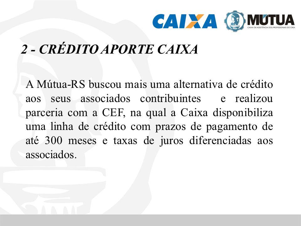 2 - CRÉDITO APORTE CAIXA A Mútua-RS buscou mais uma alternativa de crédito aos seus associados contribuintes e realizou parceria com a CEF, na qual a