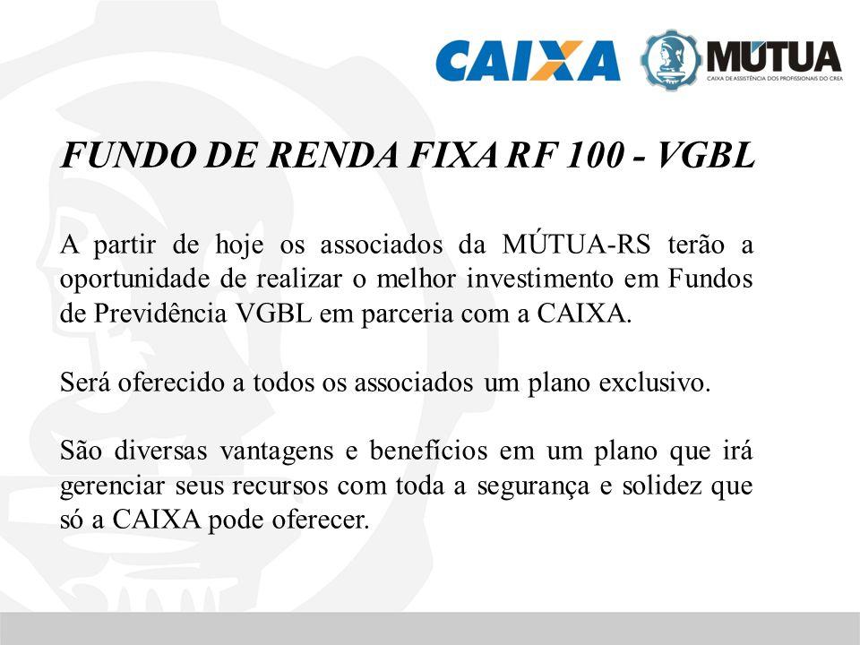 FUNDO DE RENDA FIXA RF 100 - VGBL A partir de hoje os associados da MÚTUA-RS terão a oportunidade de realizar o melhor investimento em Fundos de Previ