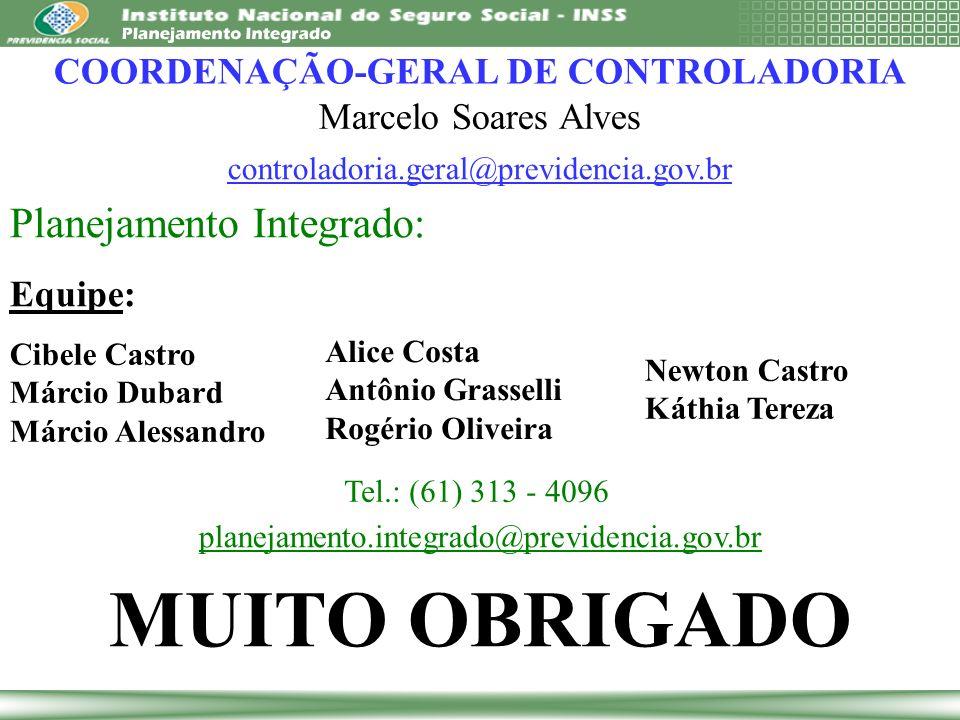MUITO OBRIGADO Planejamento Integrado: Equipe: planejamento.integrado@previdencia.gov.br COORDENAÇÃO-GERAL DE CONTROLADORIA Marcelo Soares Alves contr