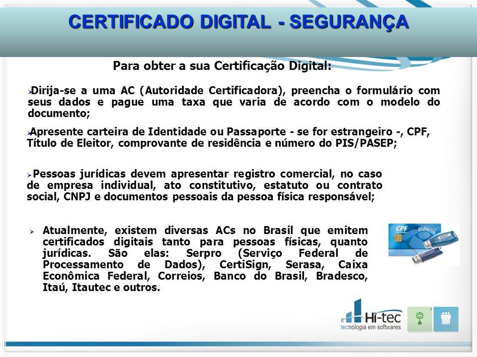 Atualmente, existem diversas ACs no Brasil que emitem certificados digitais tanto para pessoas físicas, quanto jurídicas. São elas: Serpro (Serviço Fe