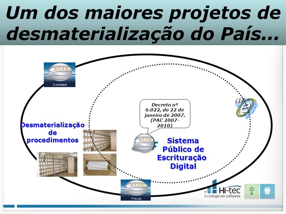 Desmaterializaçãodeprocedimentos Sistema Público de EscrituraçãoDigital Decreto nº 6.022, de 22 de janeiro de 2007. (PAC 2007- 2010) Um dos maiores pr