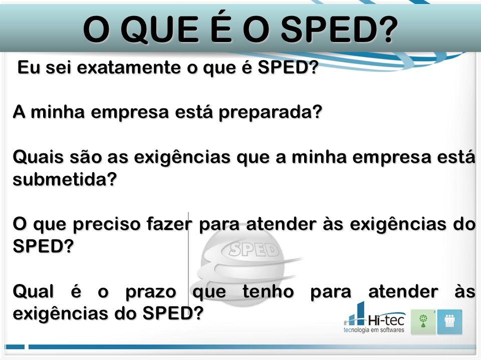 Eu sei exatamente o que é SPED? Eu sei exatamente o que é SPED? A minha empresa está preparada? Quais são as exigências que a minha empresa está subme