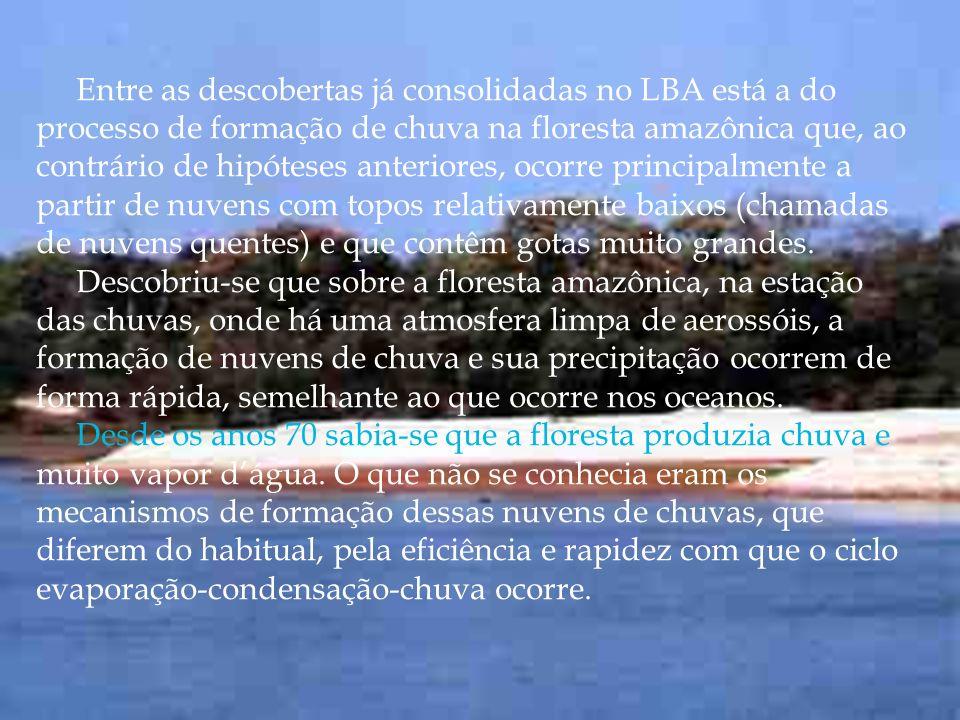 Entre as descobertas já consolidadas no LBA está a do processo de formação de chuva na floresta amazônica que, ao contrário de hipóteses anteriores, o