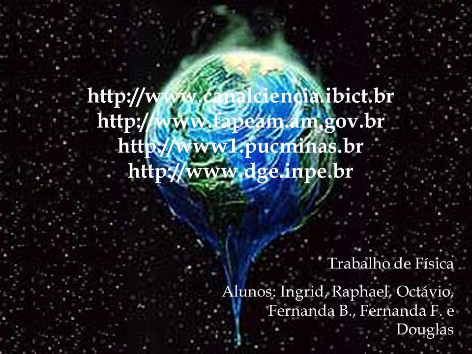 http://www.canalciencia.ibict.br http://www.fapeam.am.gov.br http://www1.pucminas.br http://www.dge.inpe.br Trabalho de Física Alunos: Ingrid, Raphael