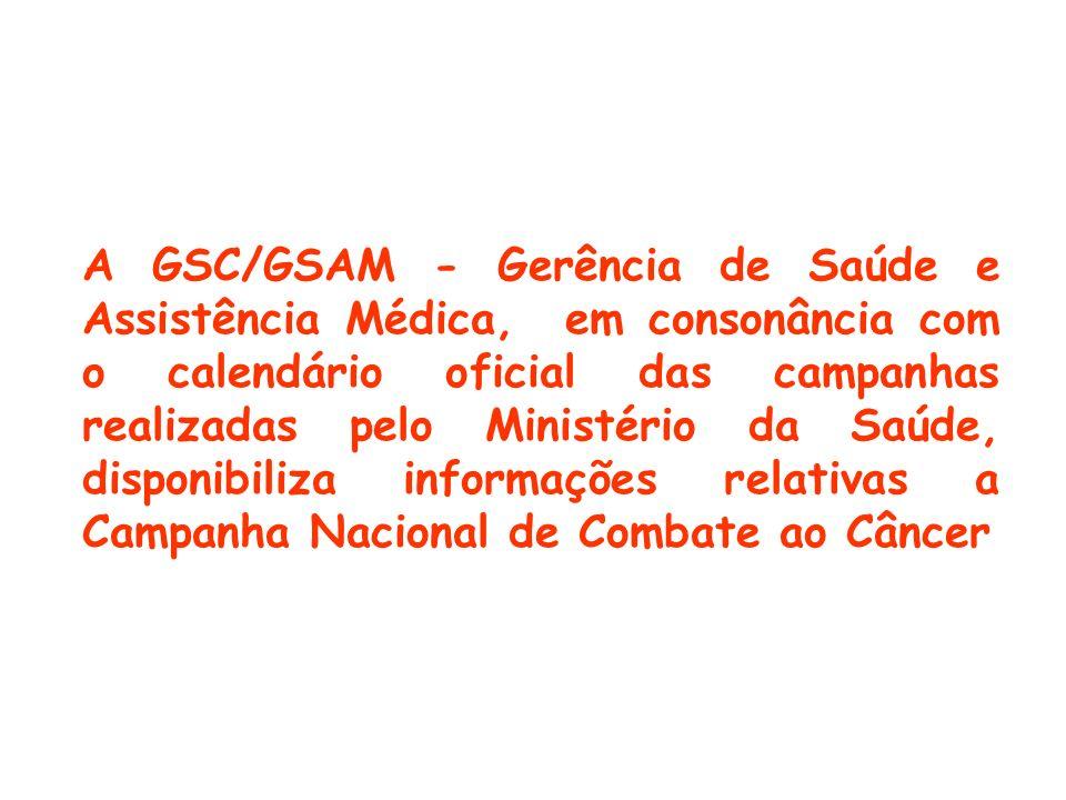 A GSC/GSAM - Gerência de Saúde e Assistência Médica, em consonância com o calendário oficial das campanhas realizadas pelo Ministério da Saúde, dispon
