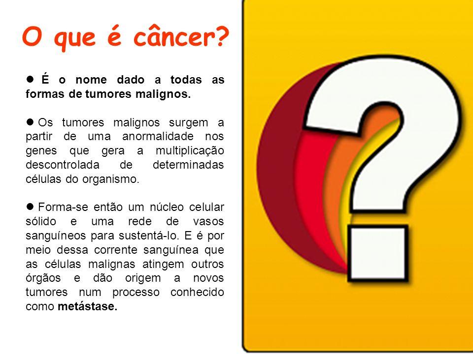 O que é câncer? É o nome dado a todas as formas de tumores malignos. Os tumores malignos surgem a partir de uma anormalidade nos genes que gera a mult