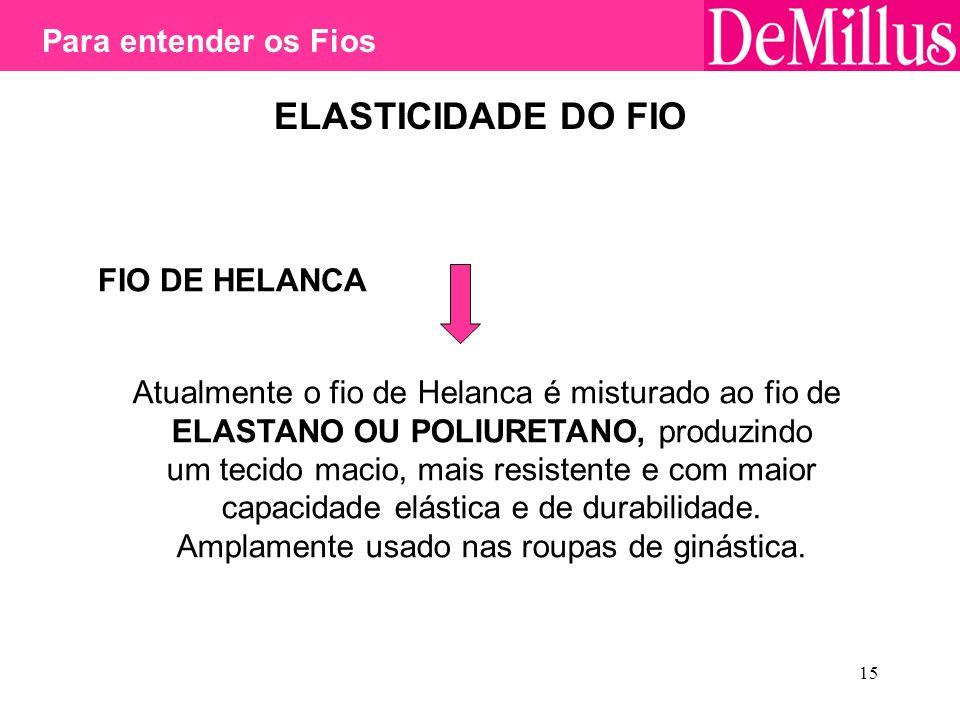 15 ELASTICIDADE DO FIO FIO DE HELANCA Atualmente o fio de Helanca é misturado ao fio de ELASTANO OU POLIURETANO, produzindo um tecido macio, mais resi