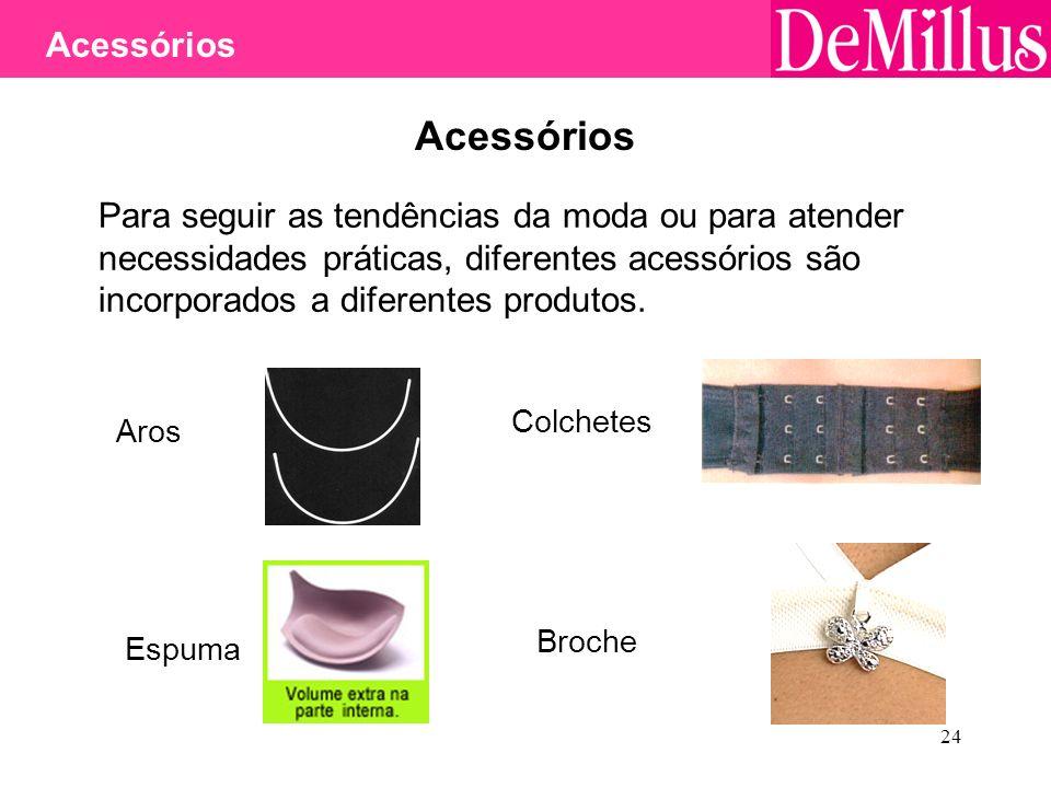 24 Acessórios Para seguir as tendências da moda ou para atender necessidades práticas, diferentes acessórios são incorporados a diferentes produtos. A