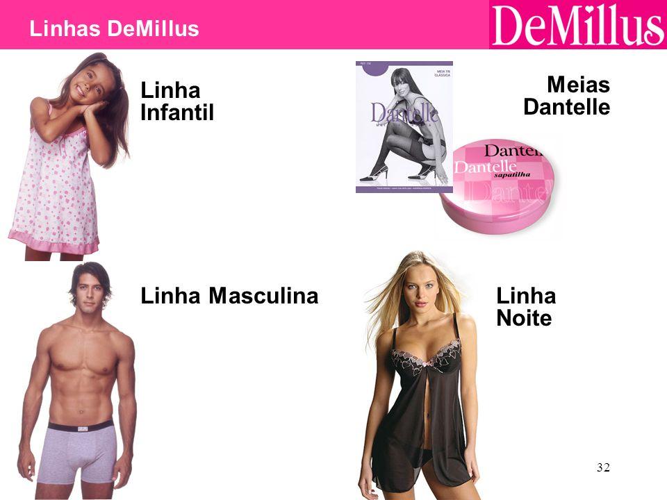 32 Linha Infantil Linha Masculina Meias Dantelle Linha Noite Linhas DeMillus