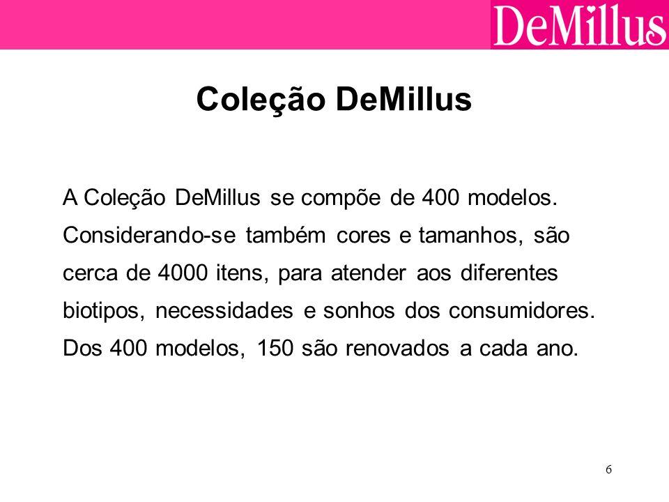 6 Coleção DeMillus A Coleção DeMillus se compõe de 400 modelos. Considerando-se também cores e tamanhos, são cerca de 4000 itens, para atender aos dif