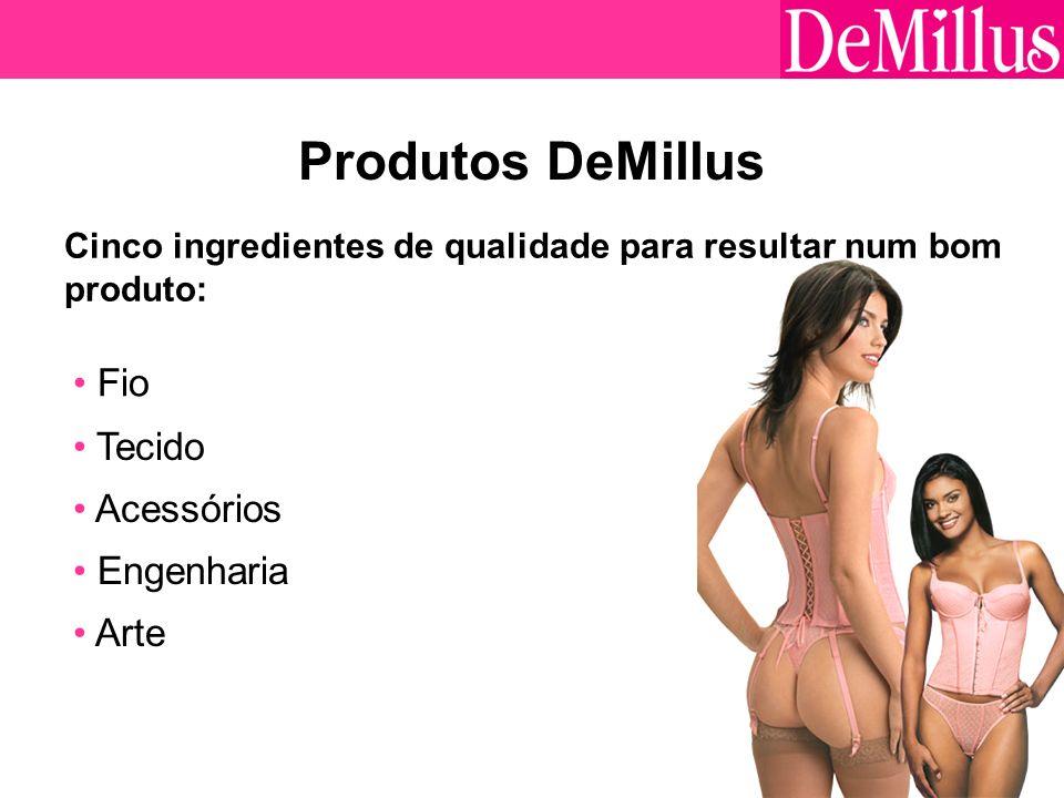 7 Produtos DeMillus Cinco ingredientes de qualidade para resultar num bom produto: Fio Tecido Acessórios Engenharia Arte