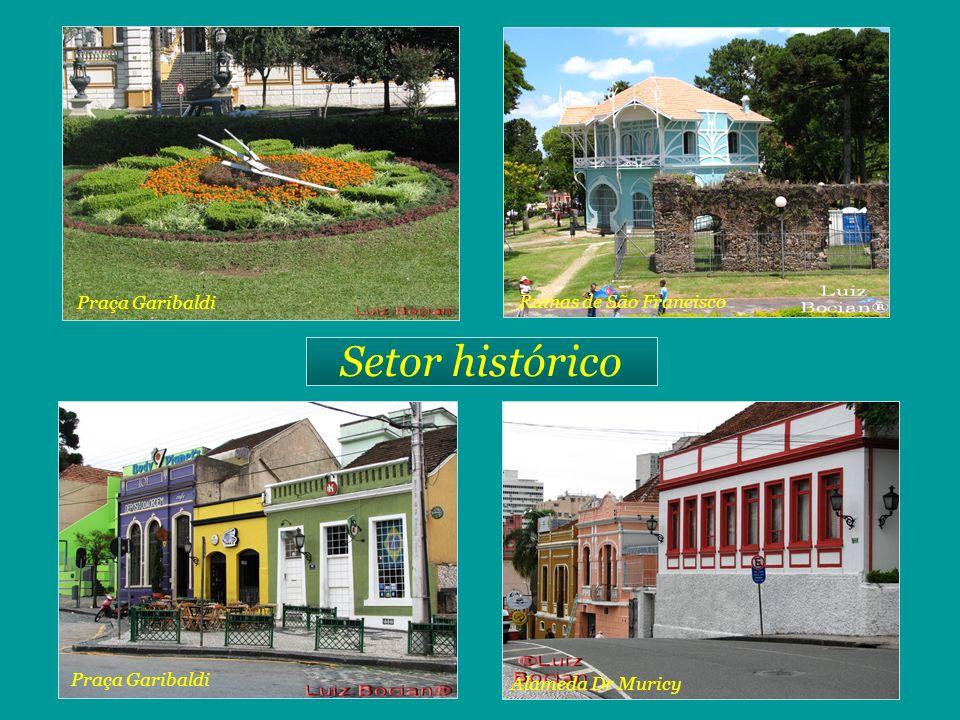 Setor histórico Rua São Francisco Rua do Rosário Rua Mateus Leme Praça Garibaldi