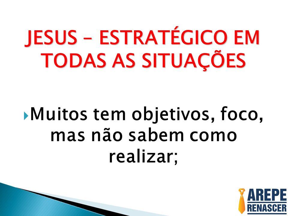JESUS – ESTRATÉGICO EM TODAS AS SITUAÇÕES Muitos tem objetivos, foco, mas não sabem como realizar;