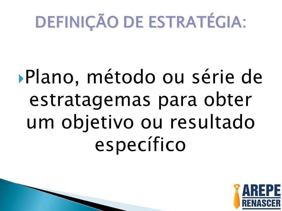 DEFINIÇÃO DE ESTRATÉGIA: Plano, método ou série de estratagemas para obter um objetivo ou resultado específico