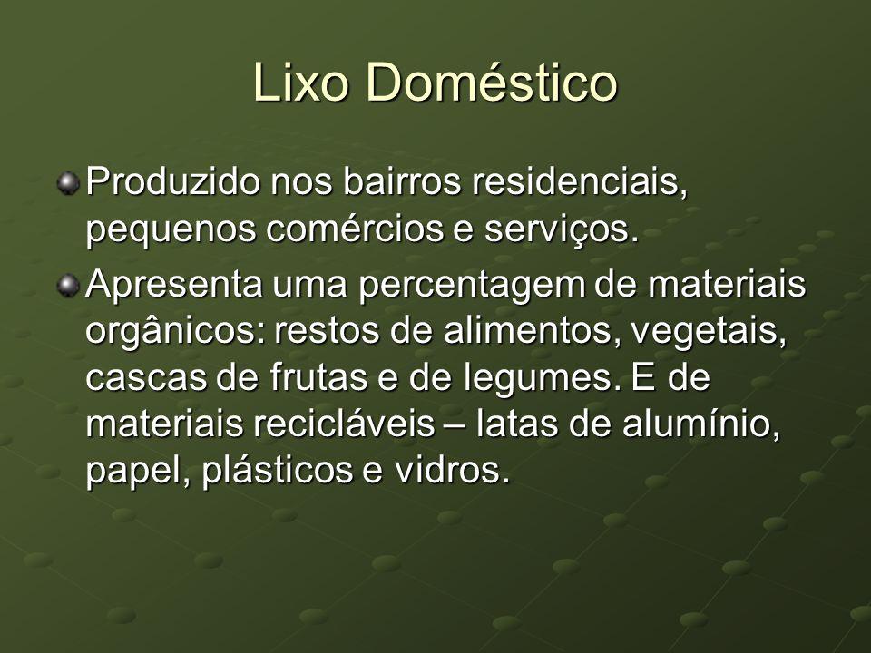 Lixo Doméstico Produzido nos bairros residenciais, pequenos comércios e serviços. Apresenta uma percentagem de materiais orgânicos: restos de alimento