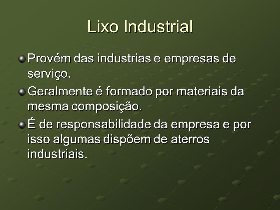 Lixo Industrial Provém das industrias e empresas de serviço. Geralmente é formado por materiais da mesma composição. É de responsabilidade da empresa