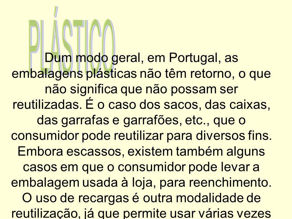 Dum modo geral, em Portugal, as embalagens plásticas não têm retorno, o que não significa que não possam ser reutilizadas. É o caso dos sacos, das cai