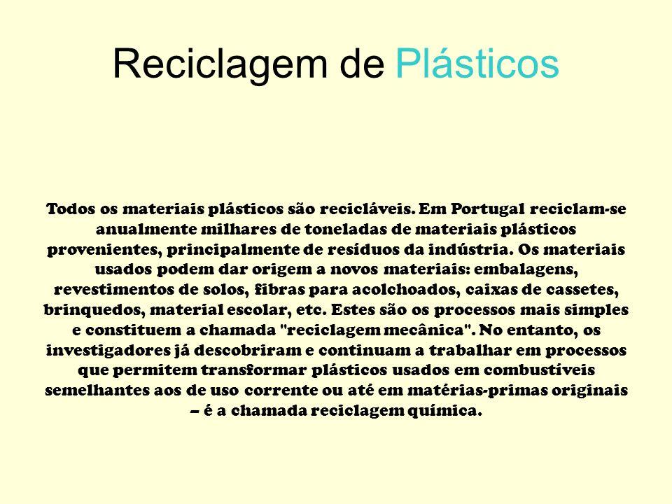Reciclagem de Plásticos Todos os materiais plásticos são recicláveis. Em Portugal reciclam-se anualmente milhares de toneladas de materiais plásticos