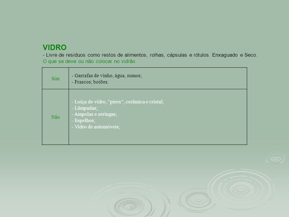 VIDRO - Livre de resíduos como restos de alimentos, rolhas, cápsulas e rótulos.