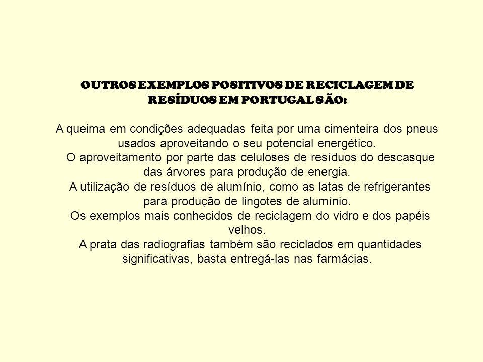 OUTROS EXEMPLOS POSITIVOS DE RECICLAGEM DE RESÍDUOS EM PORTUGAL SÃO: A queima em condições adequadas feita por uma cimenteira dos pneus usados aproveitando o seu potencial energético.
