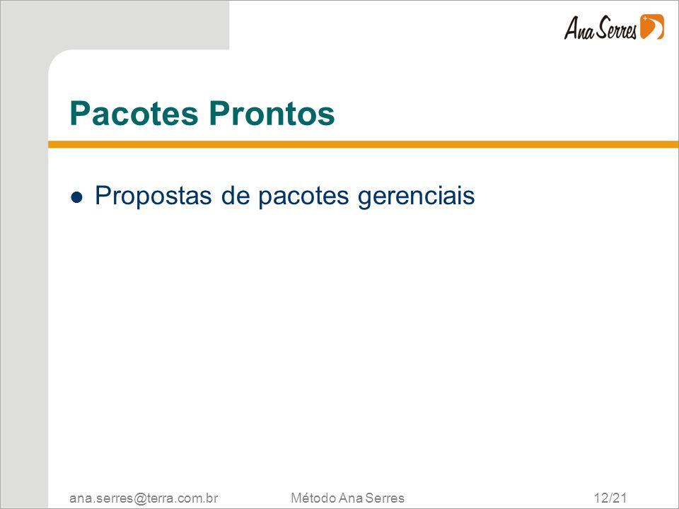 ana.serres@terra.com.br Método Ana Serres 12/21 Pacotes Prontos Propostas de pacotes gerenciais