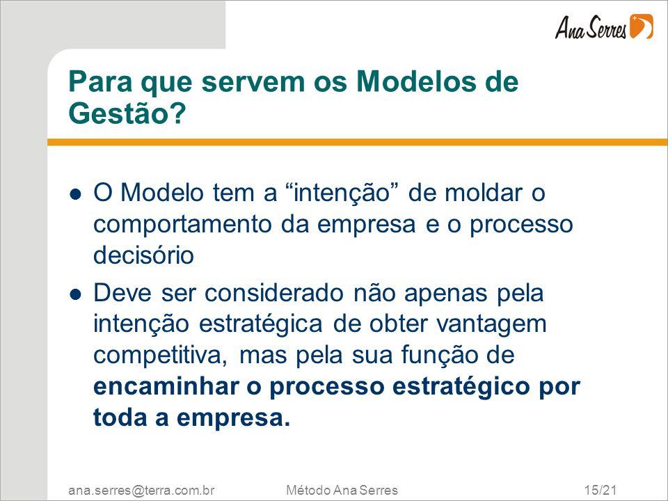 ana.serres@terra.com.br Método Ana Serres 15/21 Para que servem os Modelos de Gestão? O Modelo tem a intenção de moldar o comportamento da empresa e o