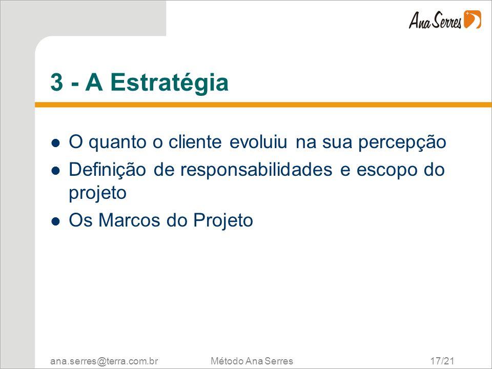 ana.serres@terra.com.br Método Ana Serres 17/21 3 - A Estratégia O quanto o cliente evoluiu na sua percepção Definição de responsabilidades e escopo do projeto Os Marcos do Projeto