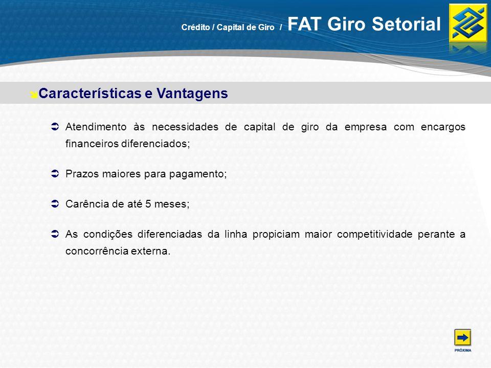 Características e Vantagens Crédito / Capital de Giro / FAT Giro Setorial Atendimento às necessidades de capital de giro da empresa com encargos finan
