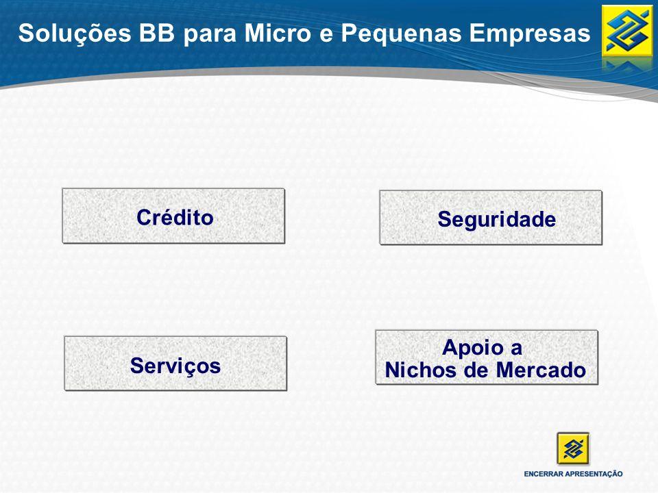 Soluções BB para Micro e Pequenas Empresas Crédito Seguridade Serviços Nichos de Mercado Apoio a