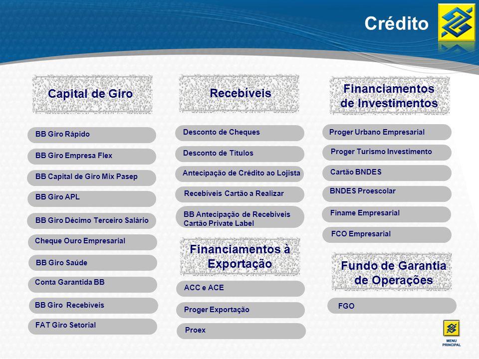 Crédito / Capital de Giro / BB Giro Rápido Crédito Fixo eRotativo em um só produto: crédito pré-aprovado composto de parcela fixa, disponível para utilização em liberação única ou em parcelas, e de parcela rotativa (cheque especial), de acordo com as necessidades da empresa.