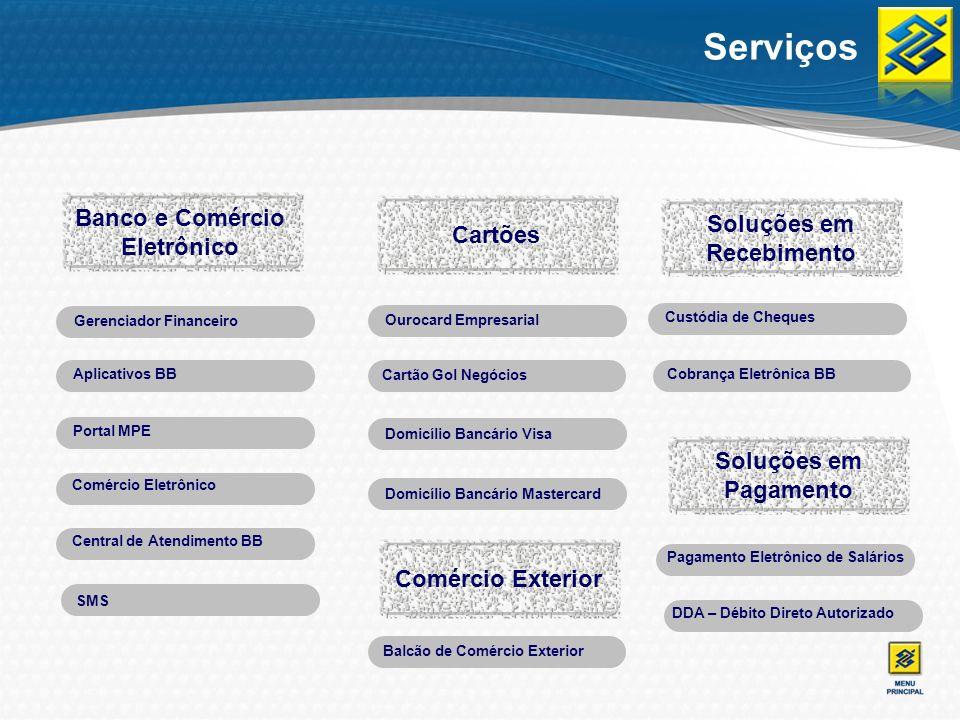 Serviços Gerenciador Financeiro Aplicativos BB Portal MPE Comércio Eletrônico Central de Atendimento BB Ourocard Empresarial Domicílio Bancário Visa D