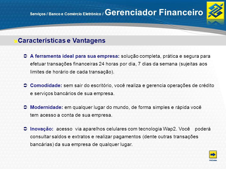 Serviços / Banco e Comércio Eletrônico / Gerenciador Financeiro A ferramenta ideal para sua empresa: solução completa, prática e segura para efetuar t