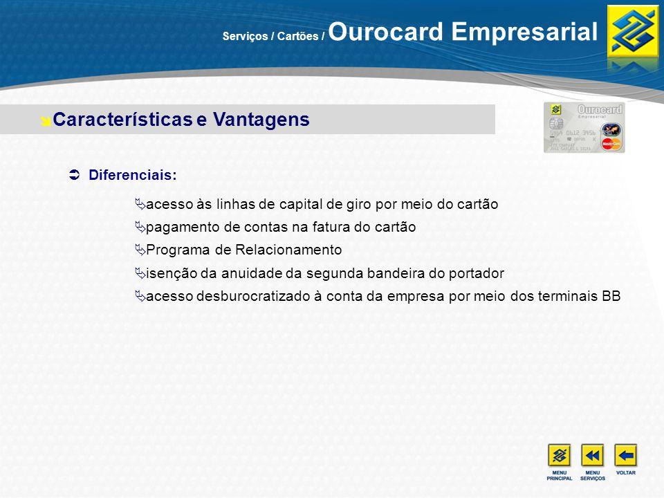 Diferenciais: acesso às linhas de capital de giro por meio do cartão pagamento de contas na fatura do cartão Programa de Relacionamento isenção da anu