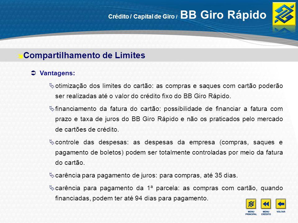 Crédito na medida certa: crédito flexível, ajustado ao fluxo de caixa da empresa, atendendo em uma única operação as necessidades de capital de giro e financiamento de estoques, matérias-primas e serviços.